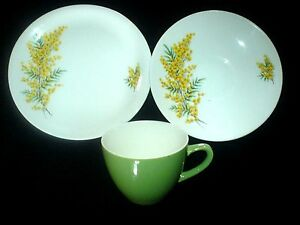 BRISTOL-039-GOLDEN-DAYS-039-Trio-Cup-Saucer-Plate-Sets-x-2-Green-Yellow-Mimosa