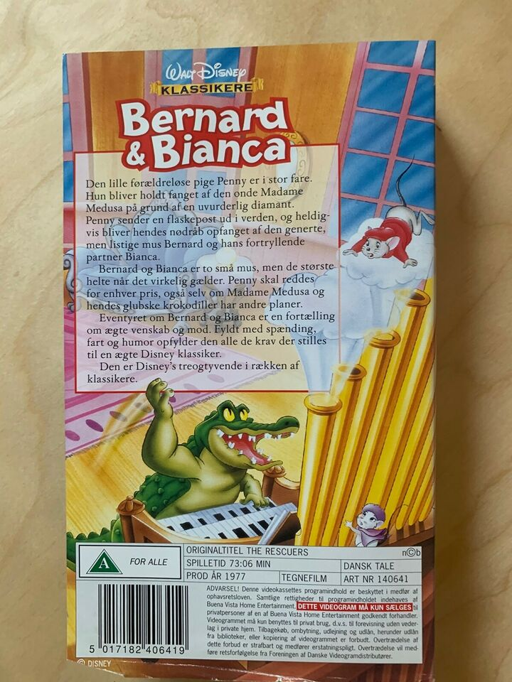 Tegnefilm, BERNARD & BIANCA, instruktør Disney