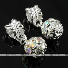 5x Clear AB Crystal European Loose Ball Bead Fit Charm Snake Chain Bracelet Gift