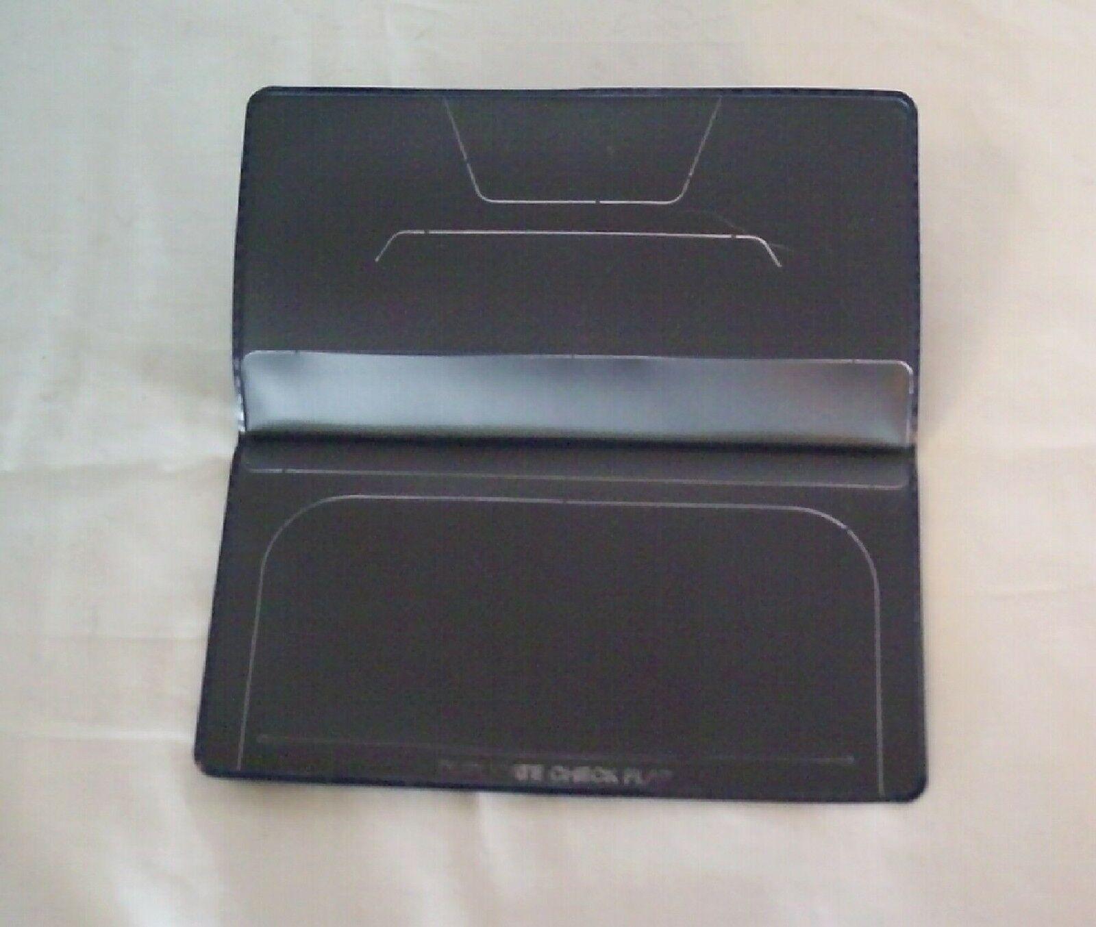 2 New Check Book Covers BLUE Vinyl Plain Duplicate Flap Standard Blank