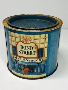 Vintage-Early-Bond-Street-Round-Blue-Pipe-Tobacco-Tin