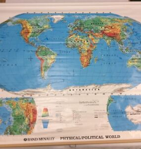 "Details about RAND McNally Physical Political World 70"" Pull Down Map 856S"