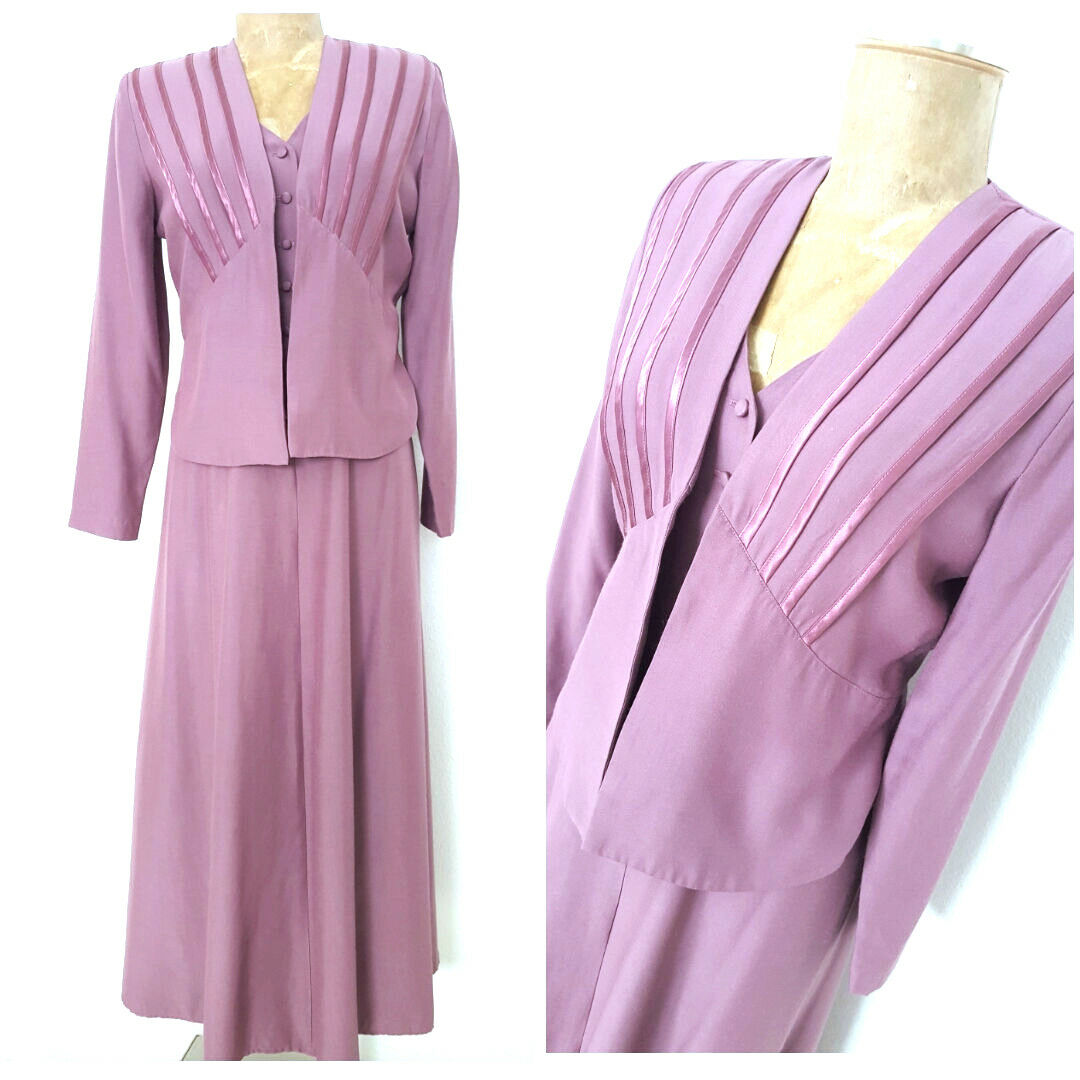 Vintage 80s Wild Rosa Mother of the Bride Dress Größe Small Romantic Open Back
