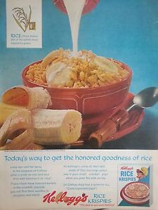 1963-Kelloggs-Rice-Krispie-Cereal-Banana-Spoon-Milk-Original-Print-Ad