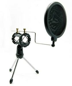 Microphone-Mic-Shock-Mount-Studio-Desktop-Table-Top-Tripod-Stand-with-POP-filter