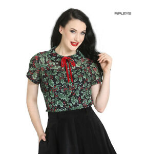Hell-Bunny-50s-Shirt-Top-Christmas-Festive-HOLLY-Berry-Blouse-Black-All-Sizes