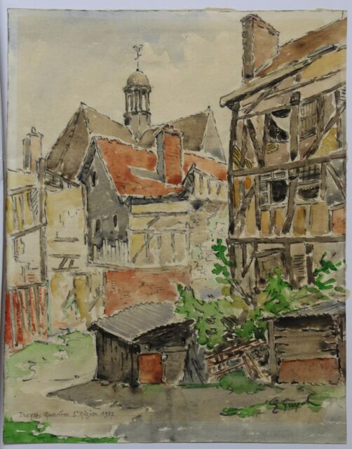 E. Guyot Watercolour Troyes District Saint-Nizier Champagne King - France Henri