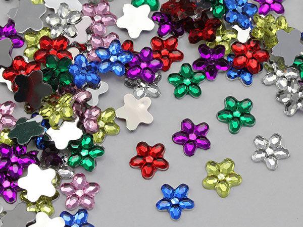 8mm Assorted Colors Flower Flat Back Acrylic Jewels Gems Rhinestone - 300 Pieces