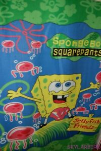 Rare-HTF-OOP-Sponge-Bob-Jellyfish-Friends-Hawn-Floral-Fleece-Panel-Fabric