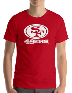 SAN-FRANCISCO-49ERS-RED-T-Shirt-WHITE-Graphic-Cotton-Adult-Logo-S-2XL