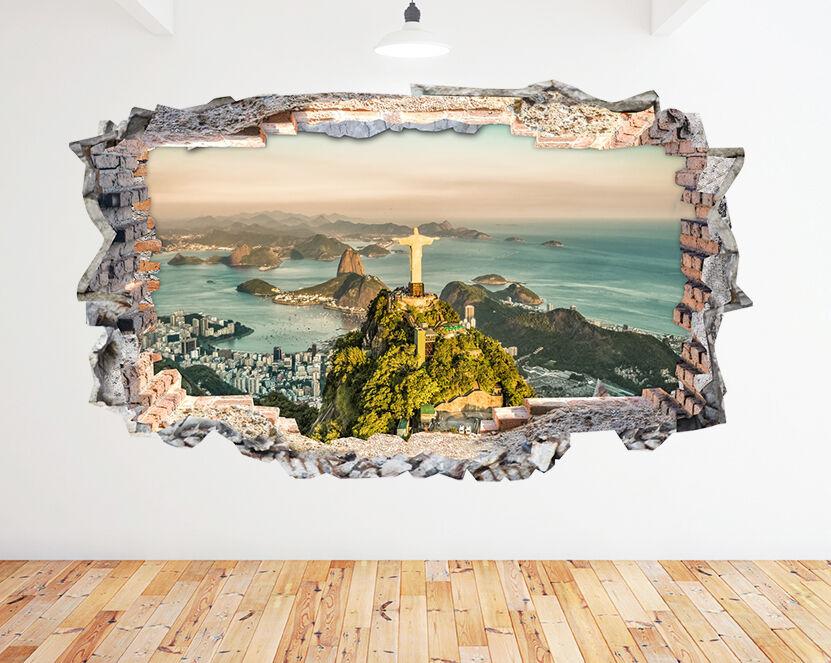 N701 Rio De Janeiro Ville Voir Smashed mur Autocollant Chambre 3D Vinyle enfants