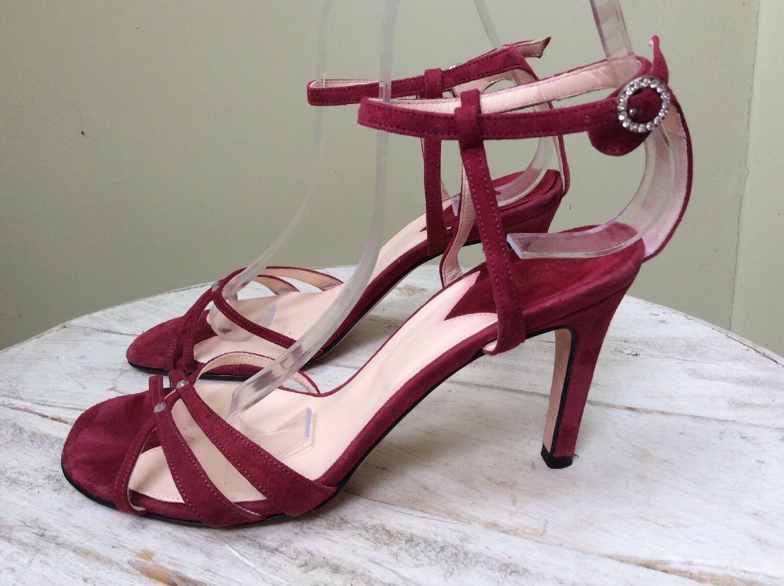 HOBBS Rosa SUEDE STRAPPY DIAMANTE SANDALS Größe 37.5 37.5 37.5 MADE IN ITALY db565d