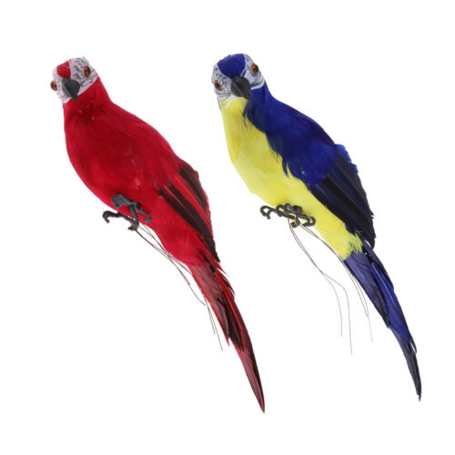2x Artificial Feather Ornament Parrot Tree Hanging Bird Animal Red /& Blue