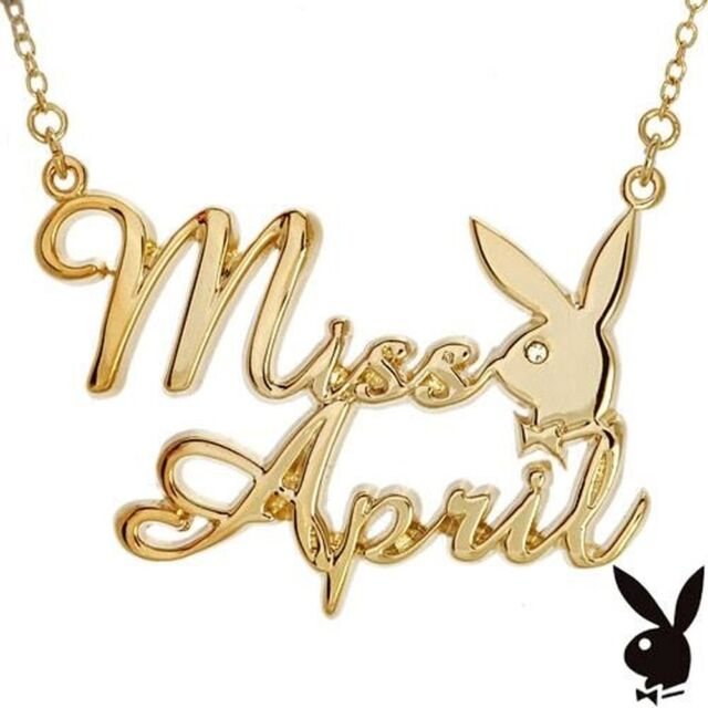 Playboy Necklace Bunny Pendant w Chain Swarovski Crystal Gold Plated MISS APRIL