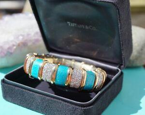 Tiffany-amp-Co-Schlumberger-Turquoise-Enamel-18kt-Gold-amp-Diamond-Bracelet-RARE