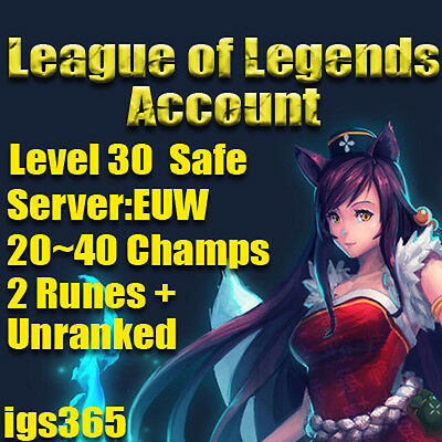 League of Legends Account   LOL   EUW   Runes  20~40 Champs   LvL 30  NOT BOTTED