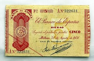 Spain-GUERRA-CIVIL-Billete-5-pesetas-1936-Bilbao-EBC-XF-Serie-A-Escaso