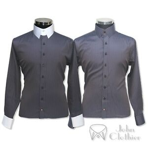 Bond Righe Uomo Anello James Collare Camicia 100Cotton Da Per Grigio Banchieri VUzqpGSML
