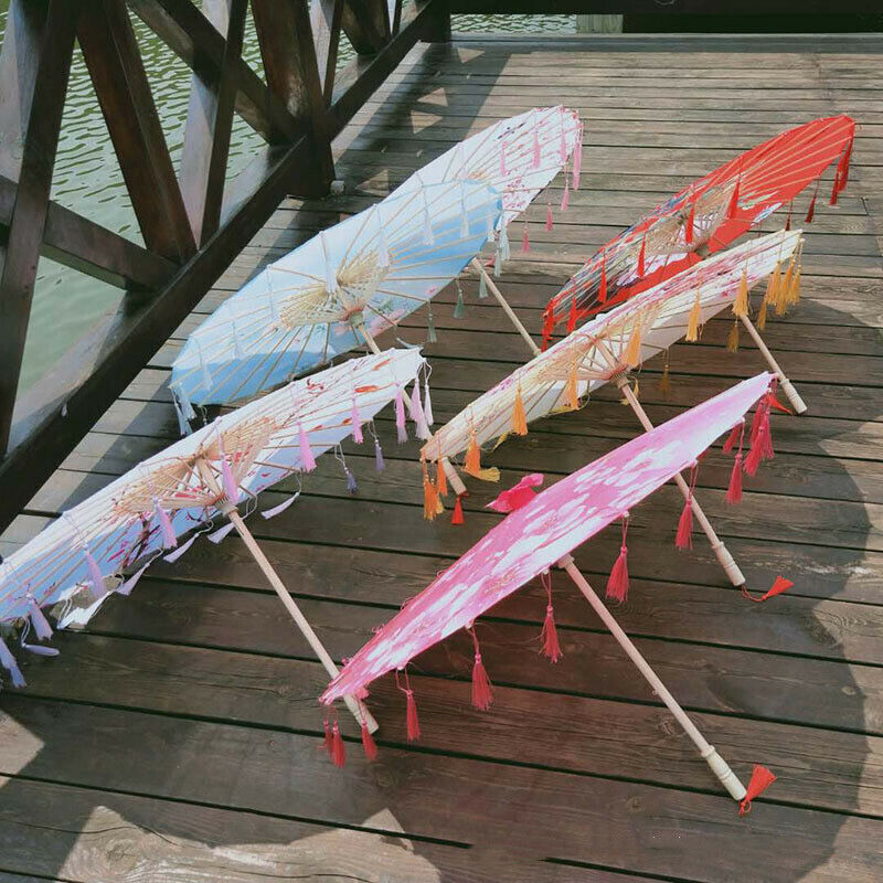 Chinese Japanese Umbrella Wedding Dance Party Art Deco Painted Paraso New