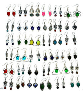 Garnet-amp-Mix-stone-Wholesale-Lot-100pair-925-sterling-Silver-Overlay-Earrings