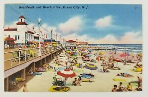 Postcard-Linen-Boardwalk-and-Beach-View-Ocean-City-New-Jersey