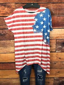 Womens-Stars-Stripes-Asymmetric-Blouse-Size-XL-Red-White-Blue-Batwing-Sleeve