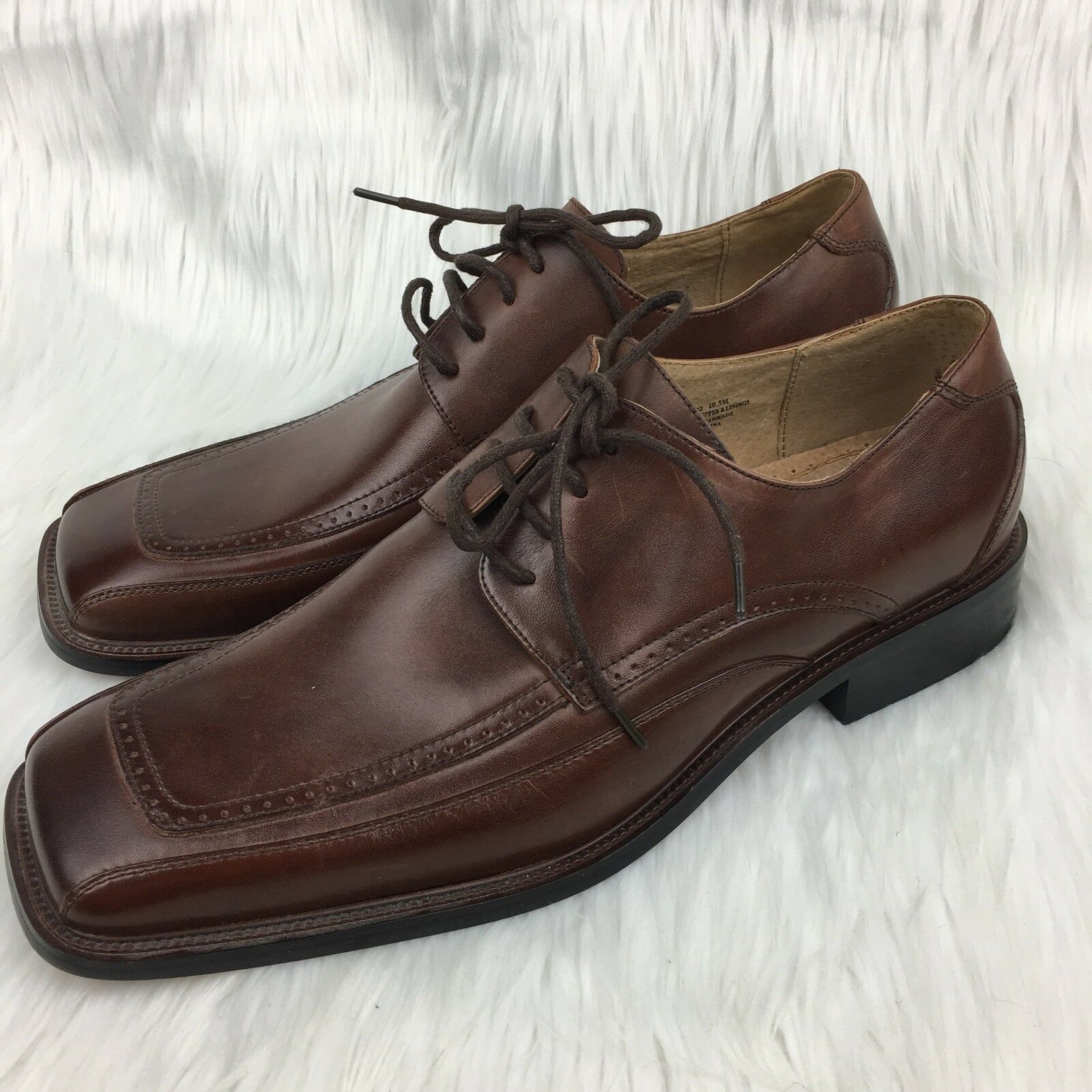 Stacy Adams Men's 10.5 Oxford Loafers Loafers Loafers Leather braun Square Toe NEW Career Dress 5326d9