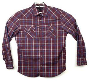 Banana-Republic-Mens-Purple-Plaid-Long-Sleeve-Button-Down-Shirt-Pearl-Snap-Sz-L