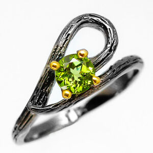 Jewelry-Fashion-Women-Natural-Peridot-925-Sterling-Silver-Ring-RVS222