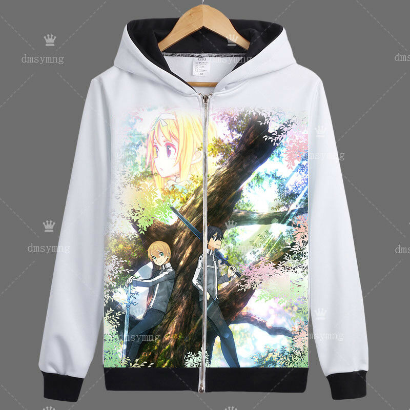 Sword Art Online Alicization Unisex Hoodie Long Sleeve Zipper Coat Cosplay