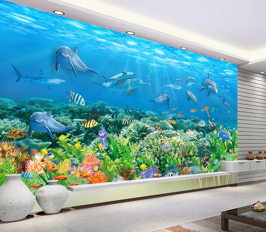 3D Meeresboden Delphin 7 Tapete Wandgemälde Tapete Tapeten Bild Familie DE Lemon | Günstig  | München Online Shop  | Quality First
