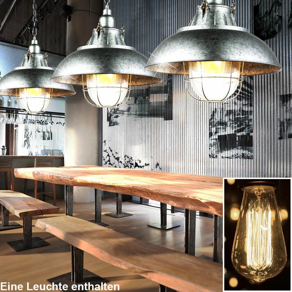 Vintage LED Hänge Leuchte Glas klar Loft Decken Pendel Beleuchtung Metall Käfig