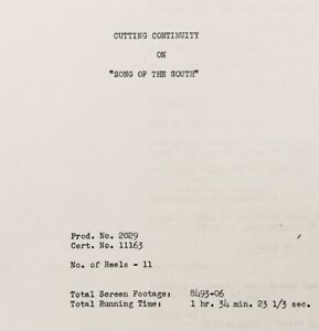 Walt Disney SONG OF THE SOUTH Cutting Continuity Script (Circa 1946