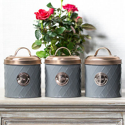 Typhoon Grey Tea Coffee Sugar Canisters With Copper Lids Kitchen Storage Jars Ebay