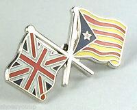 Union Jack & Barcelona Catalonia Friendship Enamel Lapel Pin Badge