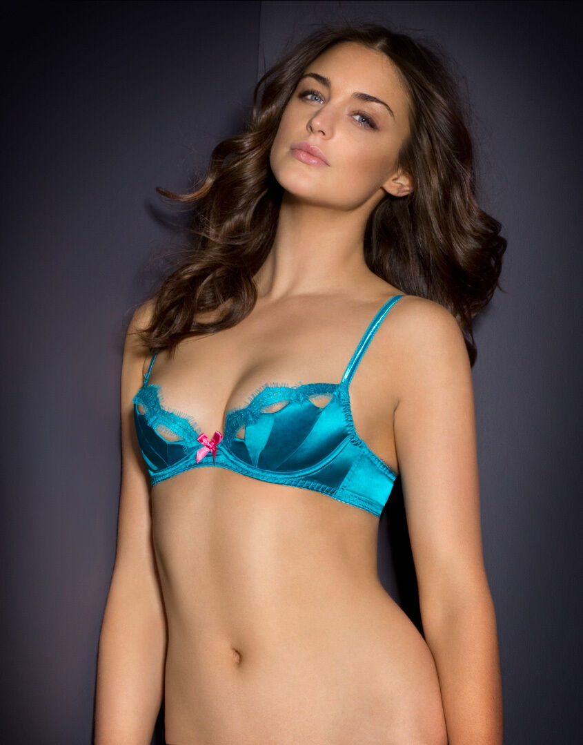 Agent Provocateur LAVELLE Satin Demi Bra in Turquoise Ret  190 New w Tags