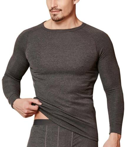 Herren Thermowäsche Thermalshirt Thermoshirt Langarmshirt Thermalwear Anthrazit