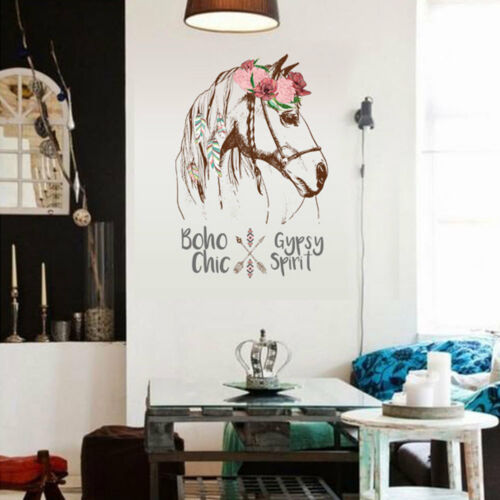 EE/_ EG/_ Removable Flower Horse Head Feather Home Wall Art Decal Sticker Decor Na