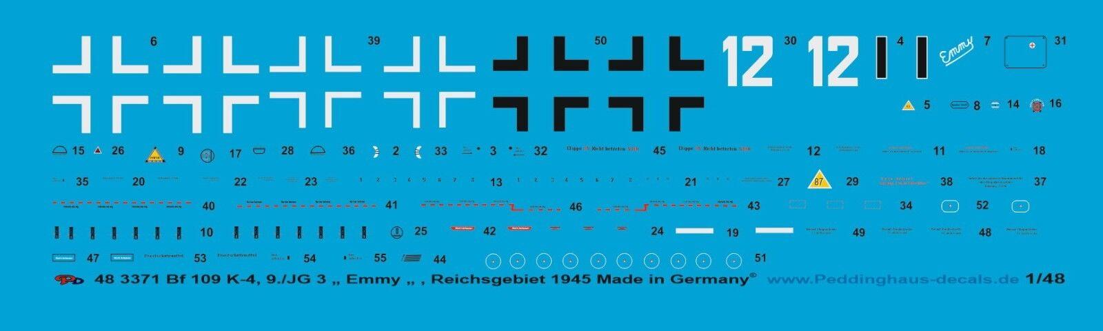 """Peddinghaus Peddinghaus Peddinghaus 1 48 3371 Bf 109 k-4, 9   JG 3"""" EMMY """"  el precio más bajo"""