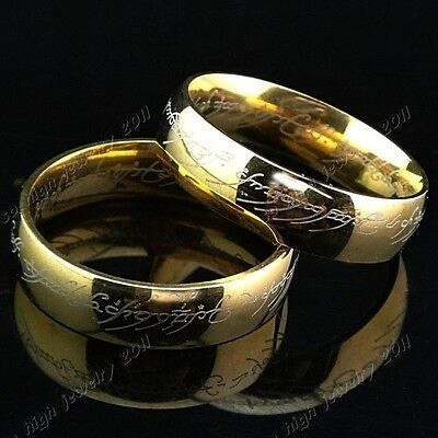 Lord of the Rings Retro Hobbit The One Ring LOTR Titanium Steel  Aragon Ring