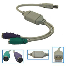 USB to 2x PS/2 Dual Keyboard & Mouse Adapter Cable - PS2 6 Pin Mini Din PC Lead