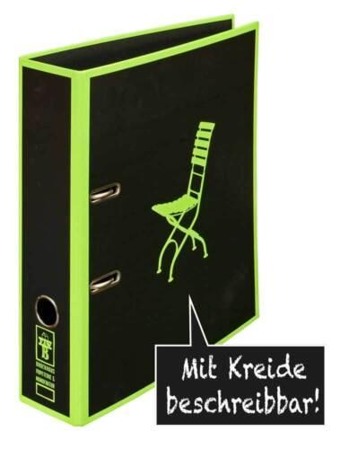 """Motivordner  Ordner  DIN A4 schwarz grün  /""""Klappstuhl/"""" I beschreibbar"""