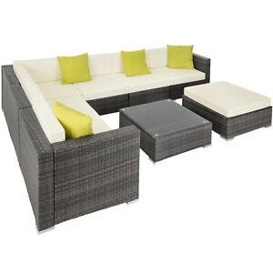 Détails sur Ensemble salon de jardin en aluminium résine tressée poly rotin  table sofa gris