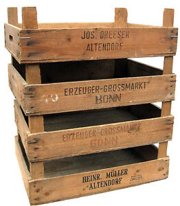 4x vieux cageots de l gumes caisse de pile transfert de fruits bois ebay