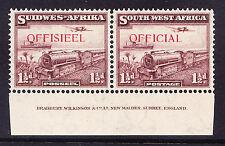 Africa Sud Occidentale SG017 11 / 2D Mail treno U / M impronta COPPIA-Superbo CAT £ 32