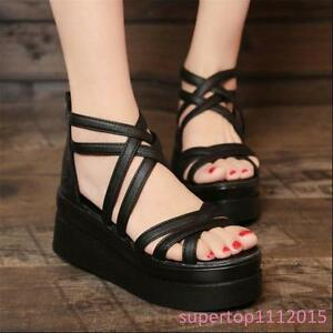 New Women's Ladies Strappy Back Zip Punk Gothic Platform Gladiator Sandals Shoes