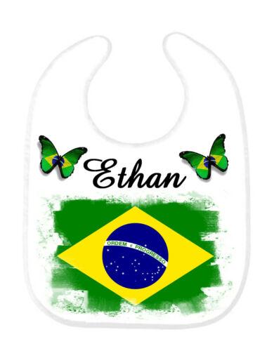 Bavoir bébé Brésil personnalisé avec prénom
