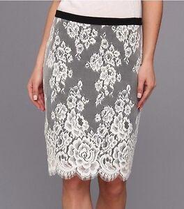 ba428525cf Karen Kane 1L61519 Black/White Floral Scallop Lace Contrast Pencil ...