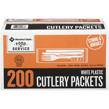 Members Mark Food Service White Plastic Cutlery Packets 200 Count