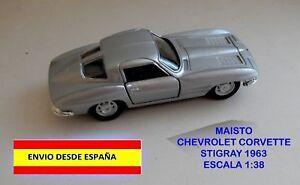 CORVETTE-STINGRAY-1963-ESCALA-1-38-MAISTO-MINIATURAS-COCHES-MAQUETAS-DIORAMAS